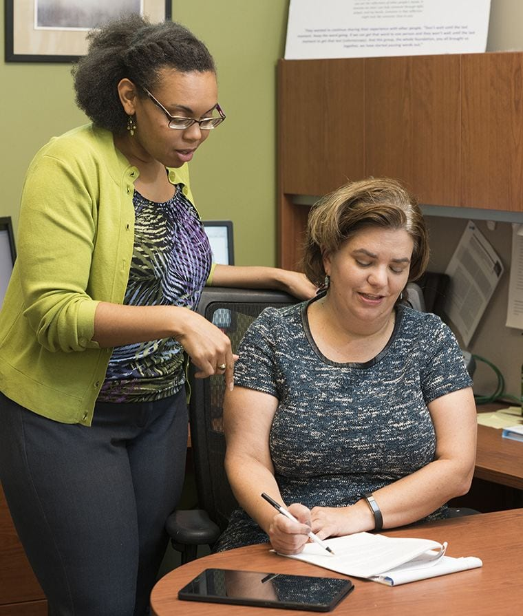 Aimee James, PhD, MPH, and Marquita Lewis, PhD, discuss Dr. James' grant on affording medications.