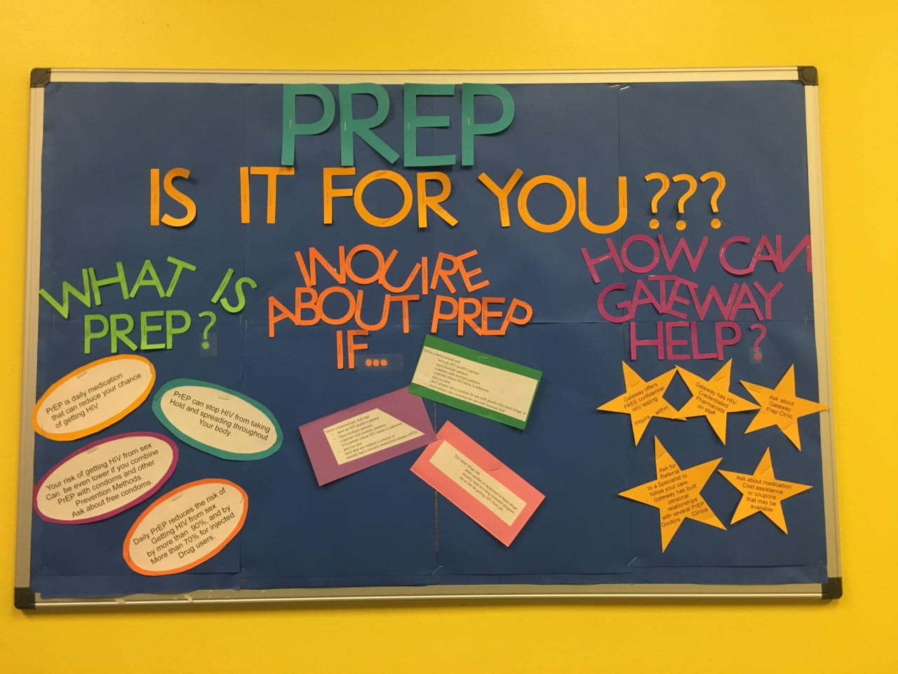 """PrEP information board in the lobby of Gateway Apothecary. Title: """"PrEP: Is It For You?"""""""