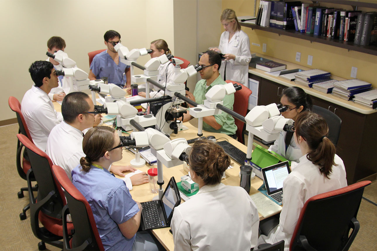 Dermatopathology fellows look through microscopes as a group