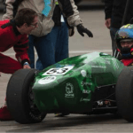 The WUSTL race car team, a WSWU-funded project, prepares the car to race