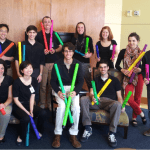 The team for the Boomwhacker project, a WSWU-funded project, stands in a group portrait