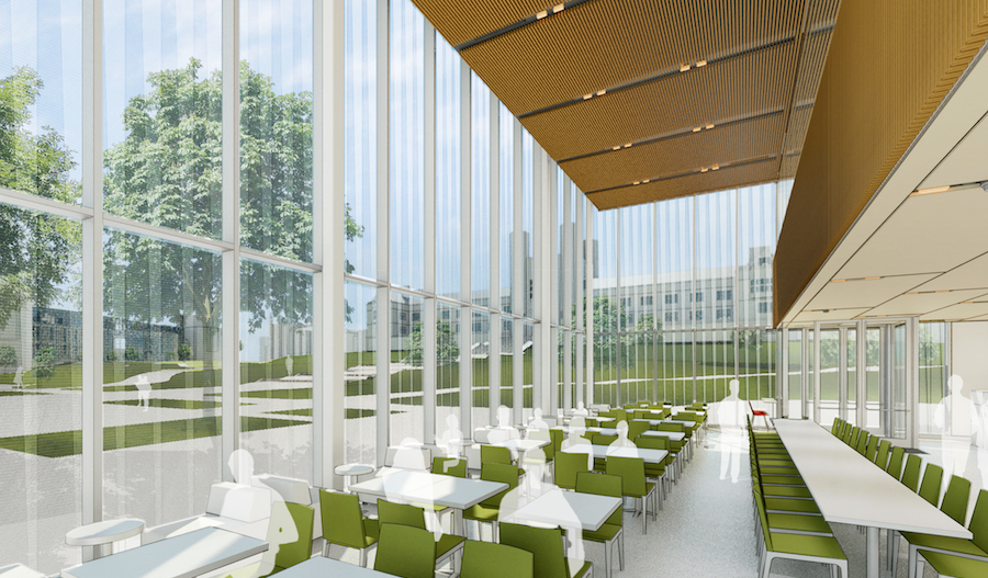 Rendering of the cafe at the Schnuck Pavilion at Washington University in St. Louis