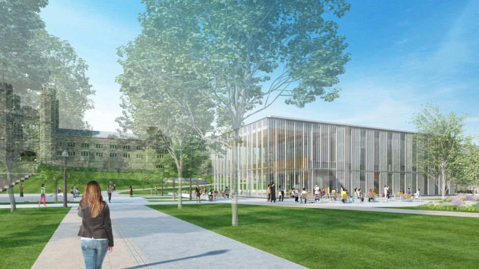 Rendering of the Schnuck Pavilion, part of the East End Transformation of the Danforth Campus at Washington University in St. Louis