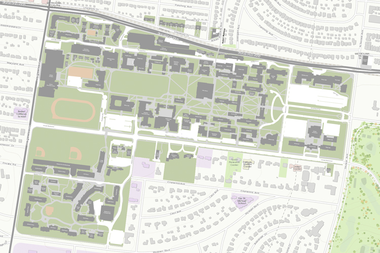 map view of Danforth Campus