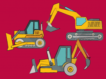 Illustration of excavation equipment on a red background