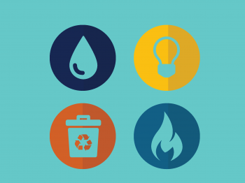 Four flat sustainability icons on a turquoise background