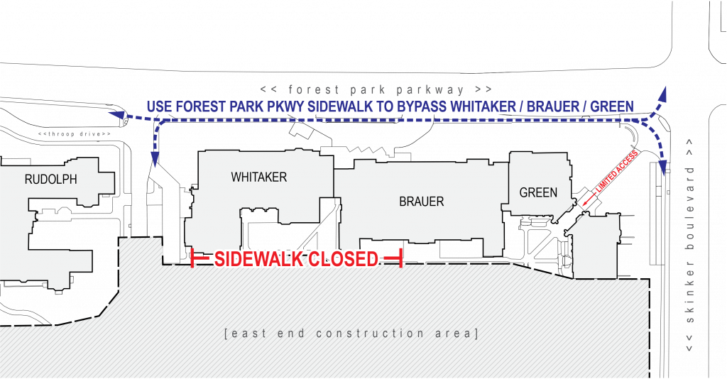 Interior sidewalk next to Brauer, Whitaker Halls to close Oct. 30
