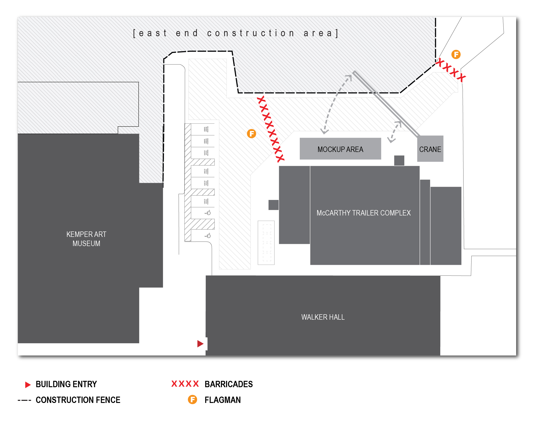 Diagram showing pedestrian access on the East End construction site at WashU