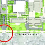 Map showing the Danforth campus of Washington University in St. Louis with red circles indicating the intersections of Forsyth & Skinker and Forsyth & Hoyt.