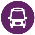 bus icon in white in a round purple circle