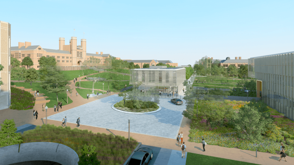 Architectural rendering of Wrighton Way, part of the transformation of the east end of Danforth Campus at Washington University in St. Louis