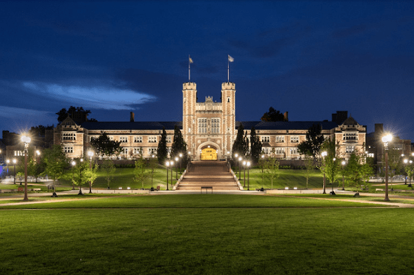 Brookings Hall on the campus of Washington University in St. Louis at night