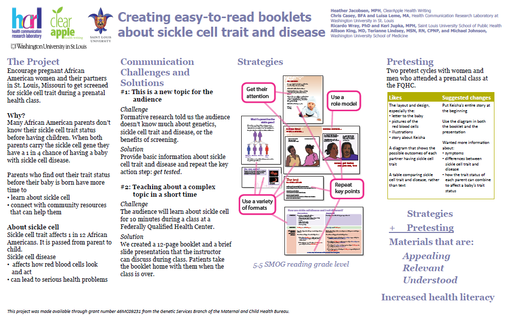 Creating easy-to-read booklets about sickle cell trait poster