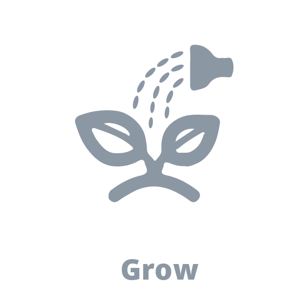Grow watering plant icon