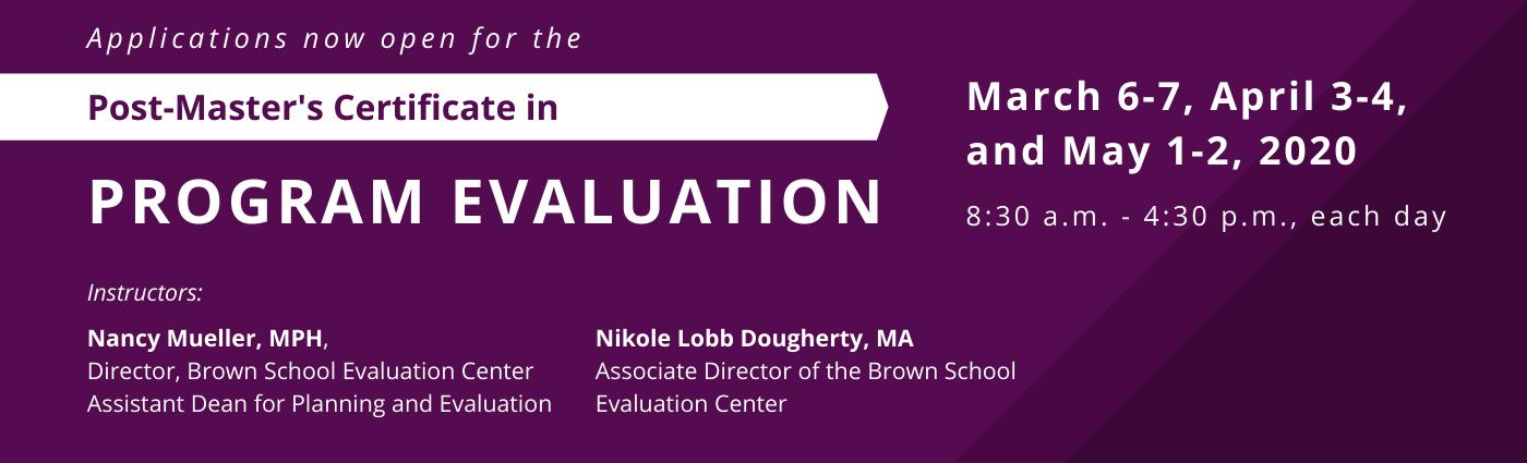 Post-Master Certificate in Program Evaluation