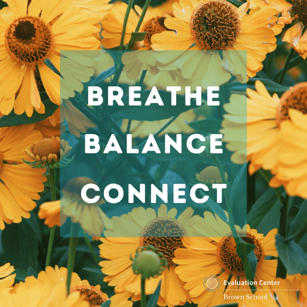 Breathe Balance and Connect: Evaluation Center COVID-19 response with yellow wildflower background