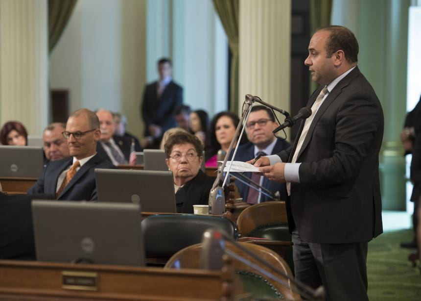 """Assemblyman Nazarian Addresses the Assembly,"" courtesy of Assemblyman Adrin Nazarian."