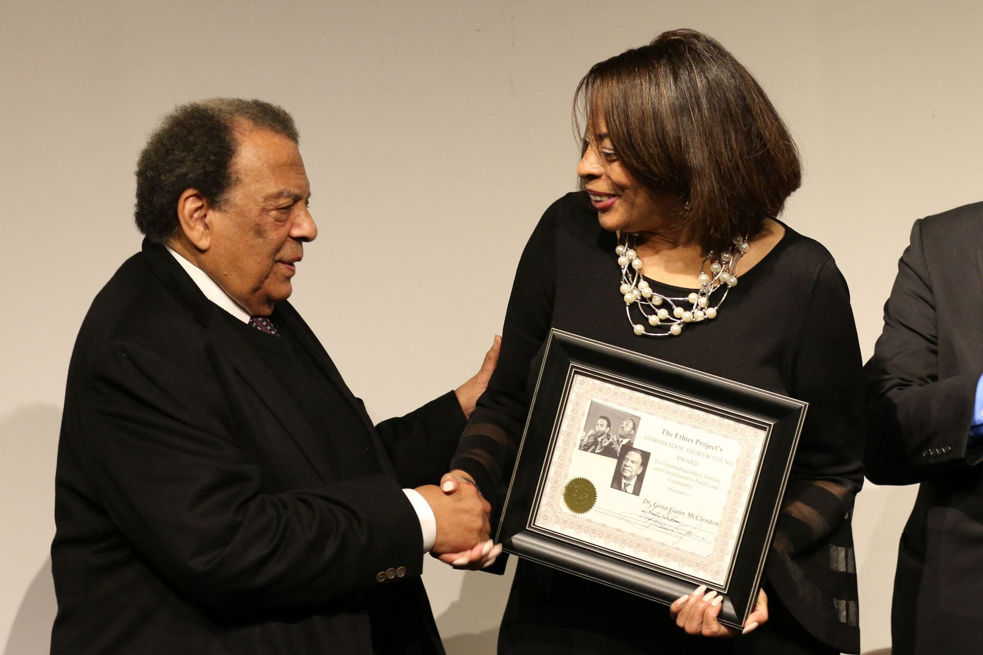 Ambassador Andrew J. Young and Dr. Gena Gunn McClendon. Photo courtesy of The Ethics Project.