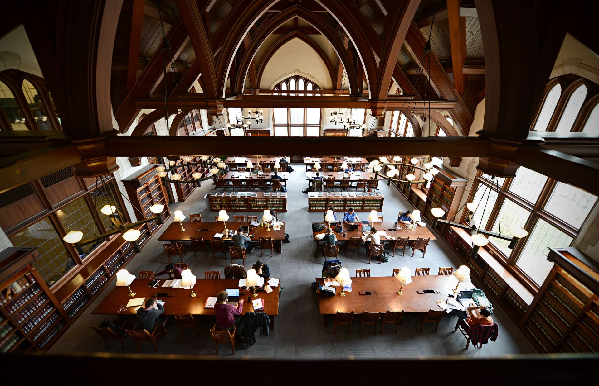 Students study in the Washington University Law Library