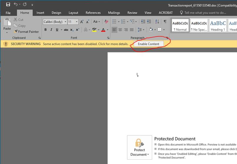 Example of warning text in Word