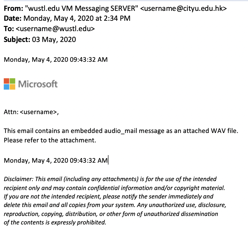 Voicemail Attachment Phish Example