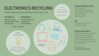 E-waste and bulb swap event promotional flyer.