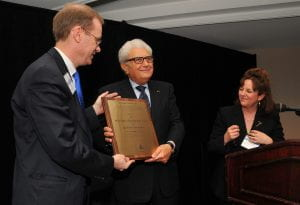 Professor Bassiouni accepting the 2010 World Peace Through Law Award