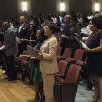 Students, faculty and staff from Washington University in St. Louis gathered for the 2018 James E. McLeod Honors and Awards Program Monday, April 30, 2018 in Simon Hall's May Auditorium on the Danforth Campus in St. Louis. Awards were presented to students and staff, and civil rights leader Frankie Muse Freeman was remembered. Photo by Sid Hastings / Washington University