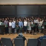 Students, faculty and staff from Washington University in St. Louis gathered for the 2018 James E. McLeod Honors and Awards Program Monday, April 30, 2018 in Simon Hall's May Auditorium on the Danforth Campus in St. Louis. Awards were presented to students and staff, and civil rights leader Frankie Muse Freeman was remembered. Ralph Bunche Scholar Award recipients pose for a photograph after the ceremony. Photo by Sid Hastings / Washington University