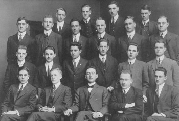 "Charles H. Duncker Jr., WashU class of 1914 (second row from top, second to the left). ""His college career was marked by high scholarship, and three honorary fraternities conferred membership on him for his classroom and research work,"" according to the St. Louis Post-Dispatch. ""He also took an active part in athletics and in conducting student publications."""
