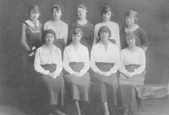 Photos from The Hatchet yearbook indicate that Margaret Haase (second row, second from right) participated in several activities and clubs while a student at Washington University. We found photos of her with her sorority, Kappa Alpha Theta; as a member of the Women's Council; and as a student athlete. According to her bio on the senior class page, she played hockey, basketball, baseball, and excelled at tennis as articles from Student Life attest she was champion of the singles and and doubles tournaments. She also won a swimming meet and participated in the Shotput. Among her other activities, Margaret served as Vice President of the Commerce Club.