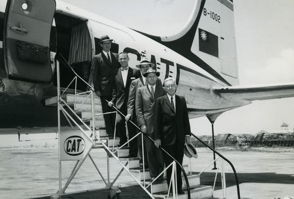 Five professors of business management and administration arrive from Washington U niversity in St. Louis to conduct a course for Korean business leaders in Onyang. From left to right: Merle T. Welshans, Charles L. Lapp, Powell Niland, Sterling H. Schoen, and L.J. Buchan.