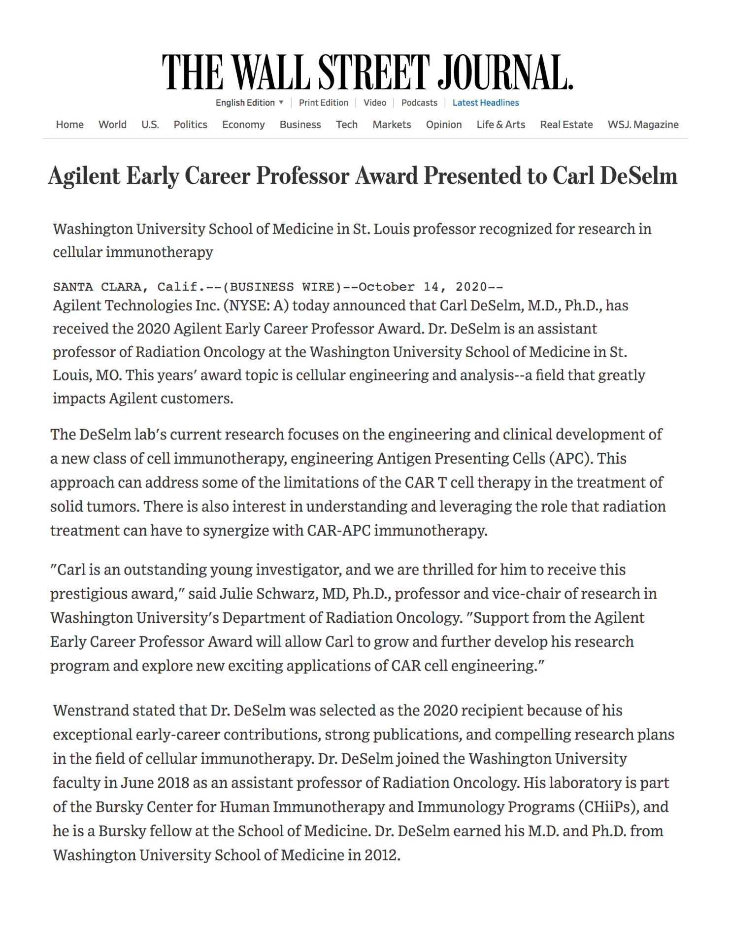 2020 National Agilent Early Career Professor Award Presented to Carl DeSelm