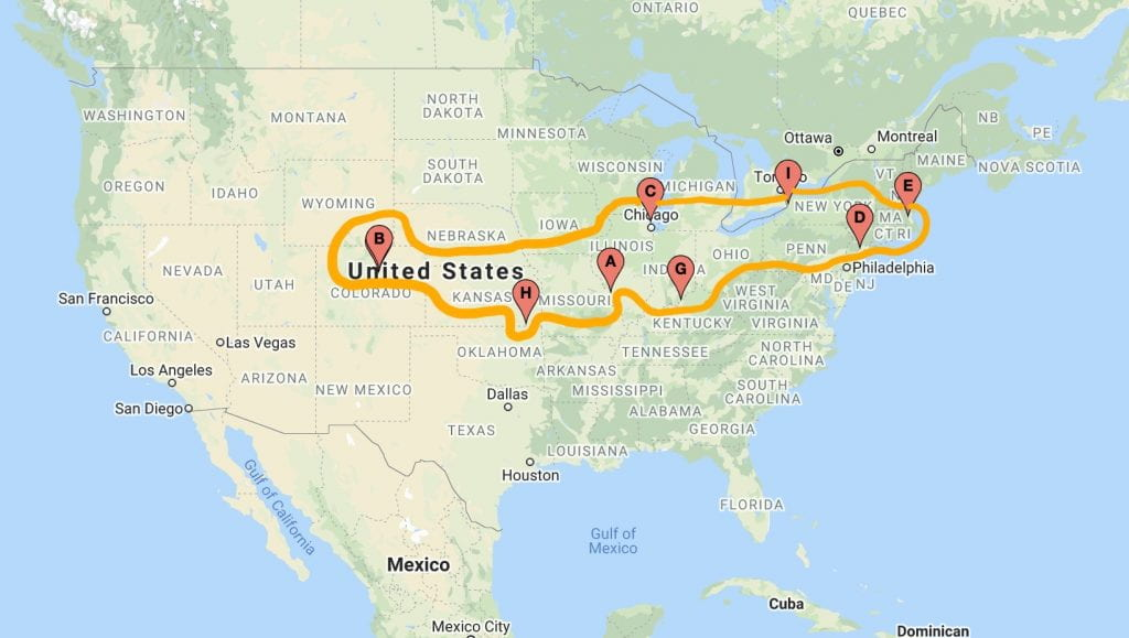 Map showing the various locations where participants have filled out toe tags for our St. Louis version of Hostile Terrain 94.
