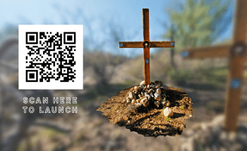 flyer and QR code for Hostile Terrain virtual reality experience