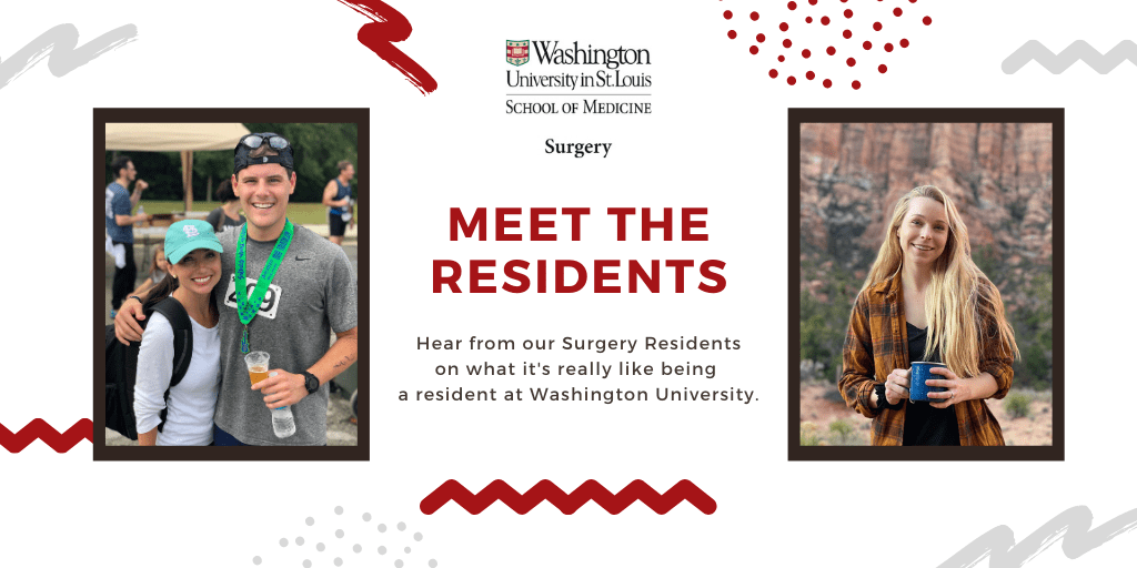 Background of white and gray swiggles with photos of Carrie Ronstrom, MD, PGY-4 Urology resident, and Corbin Frye, MD, PGY-4 general surgery resident.