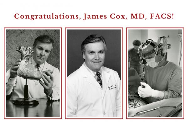 Emeritus Evarts A. Graham Professor of Surgery James Cox, MD, FACS, named recipient of the Jacobson Innovation Award