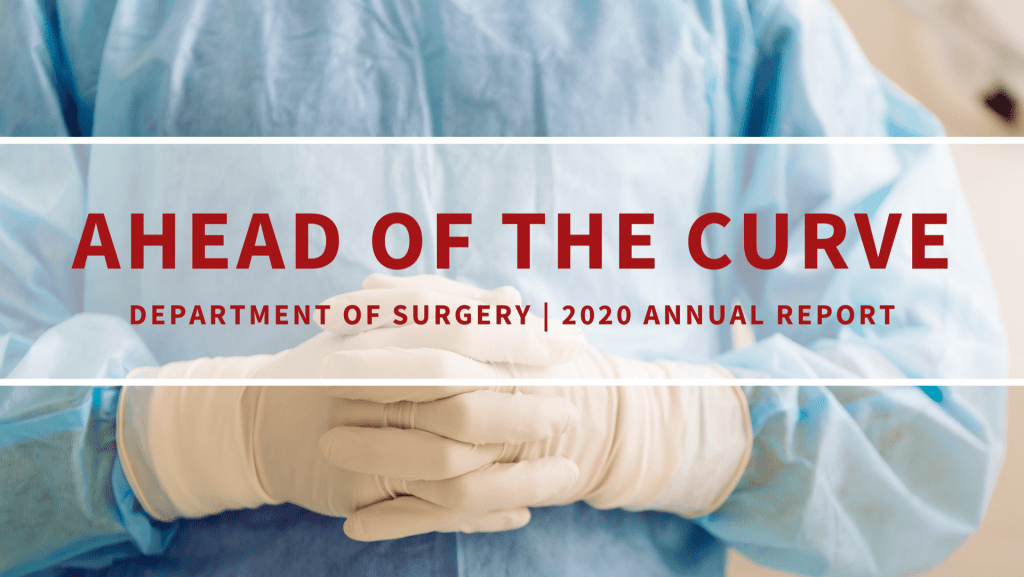 Cover of surgery annual report with surgeon wearing scrubs and gloves