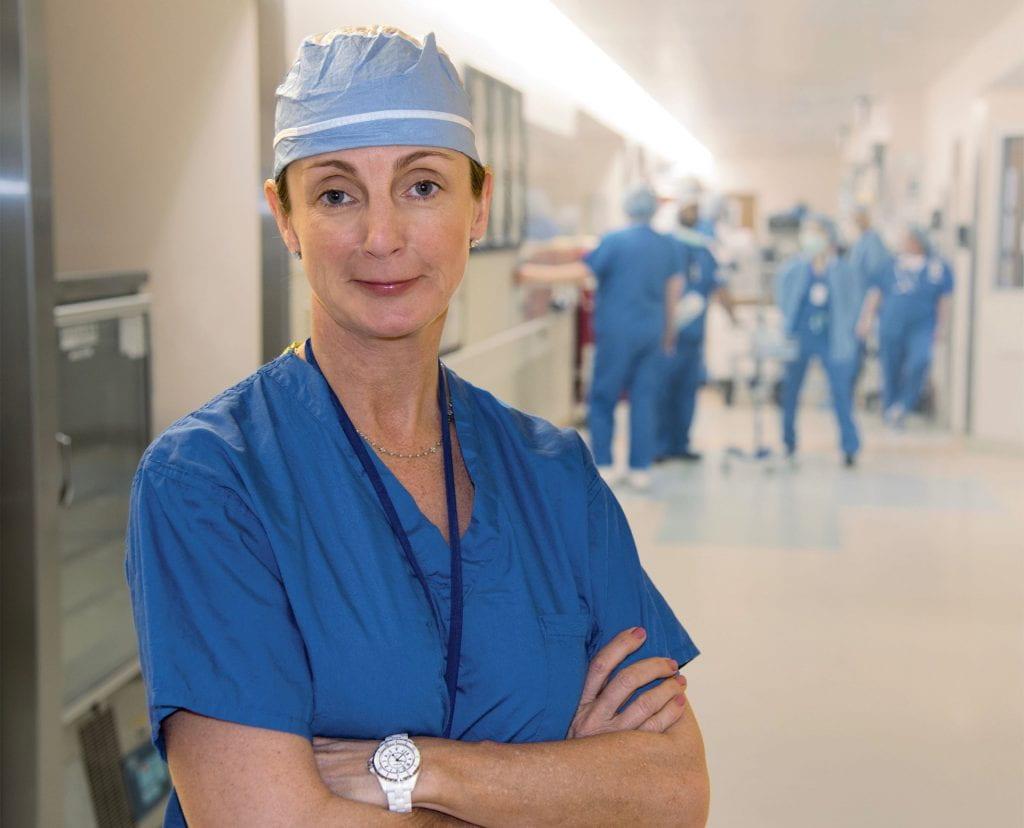 Doctor Doyle in hospital hallway