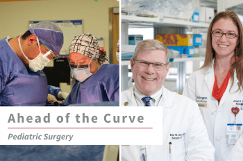 """Two images of WashU Pediatric Surgery faculty (from left to right) Baddr Shakhsheer, MD, and Brad Warner, MD, and Jessie Vrecenak, MD, with text overlay that reads """"Ahead of the Curve Pediatric Surgery."""""""