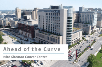 """Aerial shot of Siteman Cancer Center in St. Louis with text overlay that reads """"Ahead of the Curve with Siteman Cancer Center."""""""