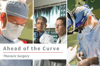"""Three images of WashU Thoracic Surgery faculty (from left to right) Benjamin Kozower, MD, MPH, Varun Puri, MD, MSCI, with Bryan Meyers, MD, MPH, and Daniel Kreisel, MD, PhD, with text overlay that reads """"Ahead of the Curve Thoracic Surgery."""""""