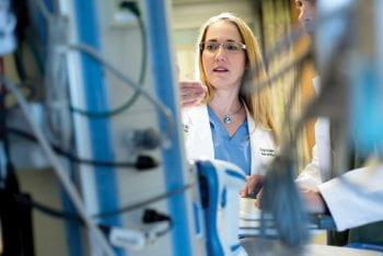 Trauma surgeon Tiffany Osborn, MD, MPH, in the ICU at Barnes-Jewish Hospital.