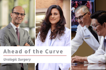 """Three images of WashU Urology faculty (from left to right) Sam B. Bhayani, MD, MS, Alana C. Desai, MD, Division Chief Gerald Andriole, and Eric Kim, MD with text overlay that reads """"Ahead of the Curve Urologic Surgery."""""""