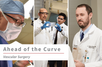 """Three images of WashU Vascular faculty from left to right"""" Robert Thompson, MD, Mohamed Zayed, MD, PhD, FACS, and John Ohman, MD, with text overlay that reads """"Ahead of the Curve Vascular Surgery."""""""