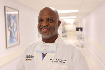 Arnold Bullock, MD, in the halls of Christian Hospital.