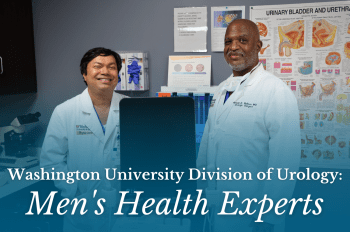 """Picture of Doctors Bullock and Venkatesh in the clinic with text overlay that reads """"Washington University Urology: Men's Health Experts"""""""