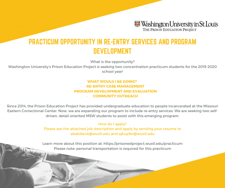 Fall 2019 Practicum Opportunity Available