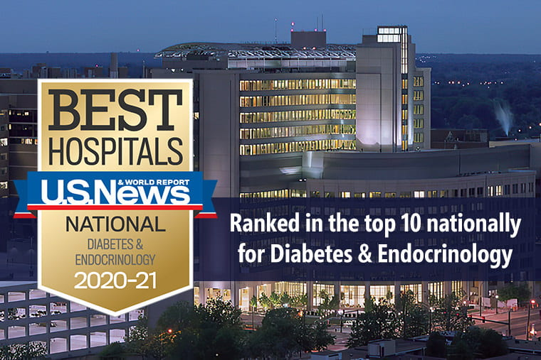 Ranked in the top 10 for Diabetes and Endocrinology by U.S. News & World Report