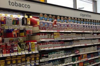 Shelves of cigarettes at store